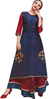 Ladyline Womens Tunic Top 3/4 Sleeves Chiffon Printed Embroidered Indian Anarkali Kurta Kurti