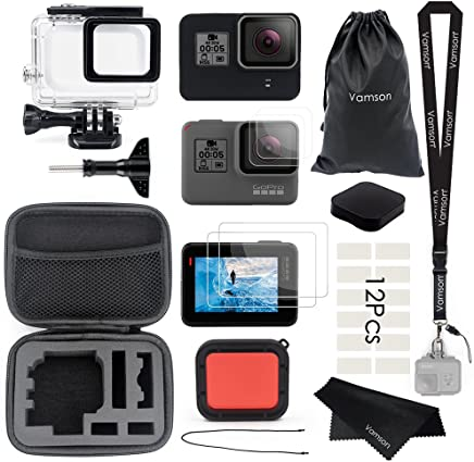 Vamson Accessories for GoPro Hero 7 Hero 6 Hero 5 Black/Hero (2018) Starter Kit Travel Case Small + Housing Case + Tempered Glass(2pcs) + Lens Cover + Silicone Protective Case for GoPro Hero 6 Outdoor