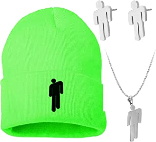 THREEMAO Billie Eilish Merch Beanie Hat and Blohsh Necklace, Embroidery Stretchy Knit Cap for Women Man