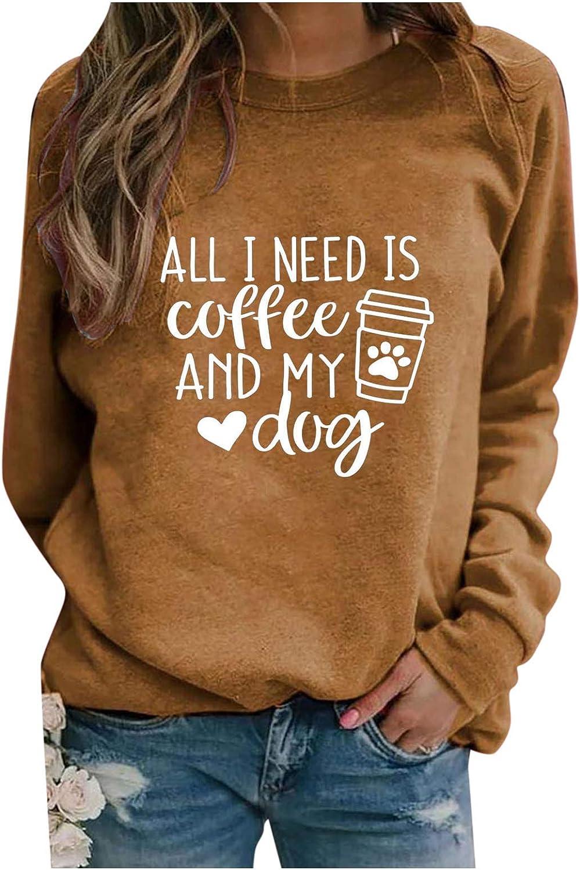 Eoailr Sweatshirts for Women Crewneck Shirts low-pricing Dog Paw Sleeve Long Spasm price