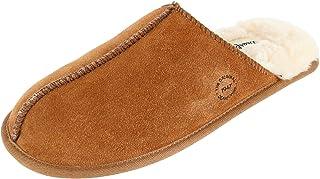Dearfoams حذاء رجالي من الجلد المدبوغ الأصلي مغلق الإصبع