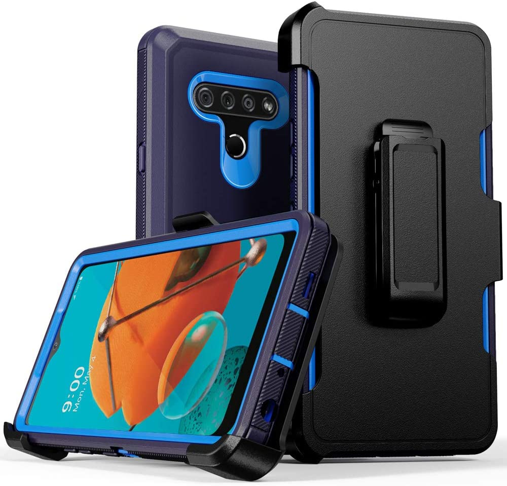 Compatible with K51 Case,Q51/LG Reflect Case,Heavy Duty Hard Shockproof Armor Protector Case Cover with Belt Clip Holster for 2020 K51 Phone (Navy Blue)