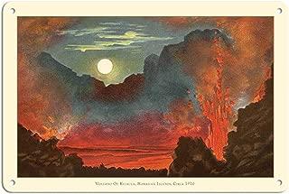Gogik Kilauea Volcano - Big Island, Hawaii - Pele Fire Goddess Vintage Metal for Bar Garage Cafe Home 12 X 8 in