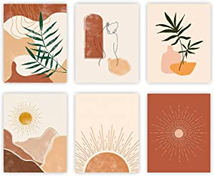 Boho Wall Art Minimalist Wall Art Prints,Prints for Wall Decor,Earth Tones Wall Art Prints, Abstract Wall Art Gallery Wall Art Earthy Wall Art Prints Set of 6 Prints Unframed (12''x16'')