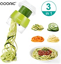 Handheld Spiralizer Vegetable Slicer, Adoric 3 in 1 Heavy Duty Veggie Spiral Cutter - Zoodle Pasta Spaghetti Maker for Low Carb/Paleo/Gluten-Free Meals