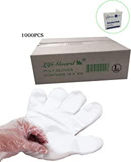 1000 pcs- Large- Economical Disposable Clear Polyethylene (PE or Poly) Gloves PowerFree- Food Grade- Kitchen, Home, Restaurant, Cooking, Cleaning, Food Handling, Travel