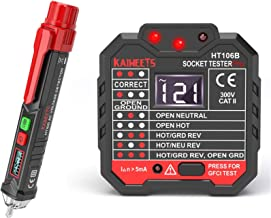 KAIWEETS Non-Contact Voltage Tester & Electrical Outlet Tester/GFCI Tester, Dual Check 2-in-1 Electrical Test Kit With LCD...