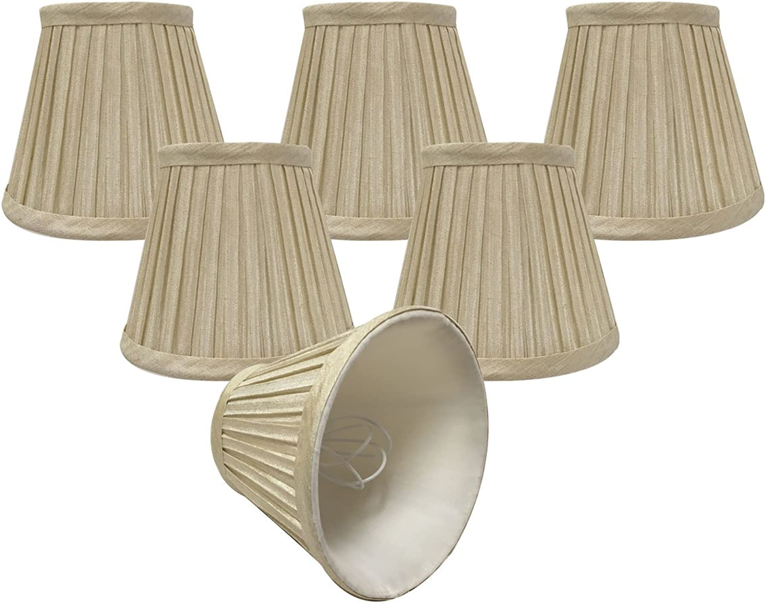 Royal Designs, Inc CSO-1032-5BG-6 Royal Designs Chandelier Lamp Shades - 3  x 5  x 4.5  - Pleated Empire - Beige - Clip-On - Set of 6, 6 Piece