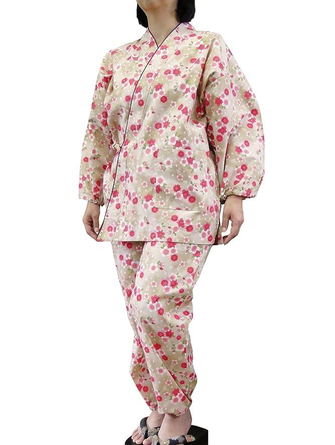 スクリューシャーロットブロンテ頬骨【女性用】花柄プリント作務衣 レディース 婦人用 さむえ 綿100%