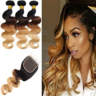Ombre Hair Bundles with Closure 3 Tone Ombre Brazilian Body Wave Bundles with Lace Closure (18 20 22 + 16 inch) 100% Human Hair Virgin Unprocessed
