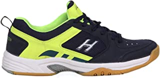 HINDON Unisex Sports Navy Green PU Badminton Shoes (Size 6 UK/IND)