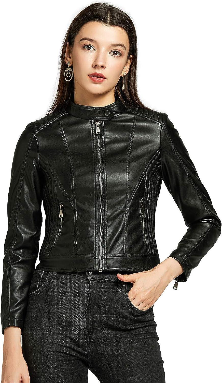 SENDEREAL Womens New Black Slim Leather Jacket with Metal Zipper,S