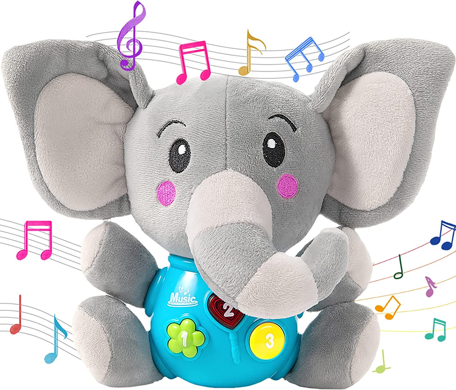 LITTLESMET Plush Elephant Baby Toys, Stuffed Animal Baby Musical Plush Toy for Babies Infant, Light Up Baby Musical Toys Baby Gifts for 0, 3, 6, 9, 12 Months, Girls, Boys ,Toddlers