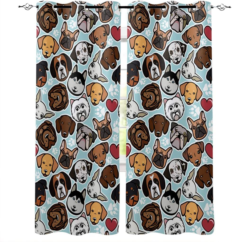 Prironde Baltimore Mall Blackout trust Curtains Drapes for Kids Bedroom Cartoon Dog's