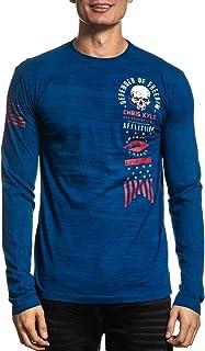 Affliction Men's Graphic Long Sleeve Shirt, CK Pendleton Variant, Crew Neck