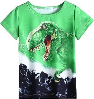 Arshiner Kids Boys T-Shirts 3D Graphic Printed Short Sleeve Tops Animal Tee Shirts 5-13 Years