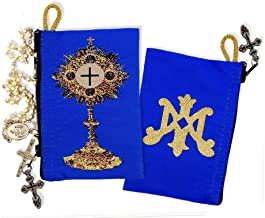 Blessed Sacrament Monstrance Blue Symbol of Virgin Mary Tapestry Cloth Rosary Pouch Case 4 1/2 Inch