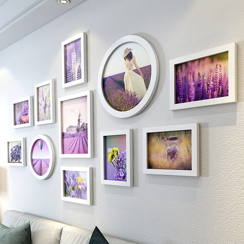 Photo Wall Living Room Bedroom Wall Photo Frame Combination Stylish Personality Home Photo Wall Photo Frame Wall Hanging Combination Simple Sofa Background Wall Photo Frame White Color Purple Amazon Co Uk Kitchen