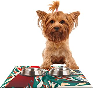 "Kess InHouse Danny Ivan""Soccer Headshot"" Teal Red Pet Bowl Placemat, 24 by 15-Inch"