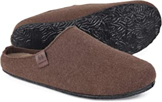 MERRIMAC Men's Fuzzy Faux Wool Felt Slippers Indoor Outdoor Anti-Skid House Shoes with Soft Moveable Insole