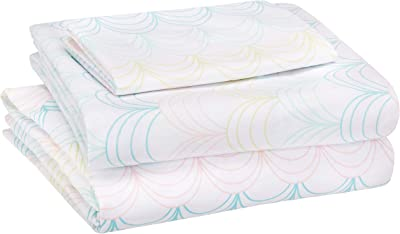 AmazonBasics Kid's Sheet Set - Soft, Easy-Wash Microfiber - Single, Multi-Color Scallop - with pillow cover