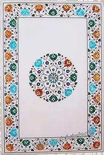 Table de salle à manger blanche en marbre de 61 x 122 cm avec motif Pietra Dura et pierres précieuses