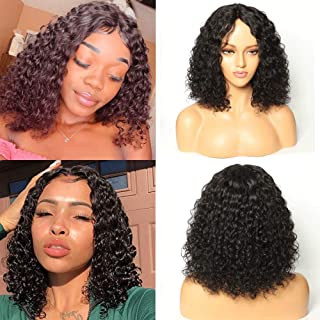 Brazilian Deep Wave Wigs for Black Women Human Hair Glueless Short Curly Wigs Human Hair with Middle Part Lace Bob Wigs(14 inches with150% density)