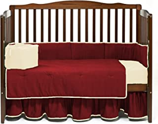 Nursery Baby Reversible Crib Bedding Set 100% Egyptian Cotton 500 TC 5-Piece Set Fitted Sheet, Dust Ruffle Skirt,Comforter,Bumper,Pillowcase (Burgundy/Ivory,Crib)