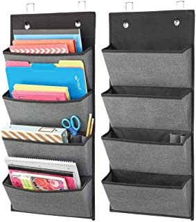 mDesign Soft Fabric Wall Mount/Over Door Hanging Storage Organizer - 4 Large Cascading Pockets - Holds Office Supplies, Planners, File Folders, Notebooks - Textured, 2 Pack - Charcoal Gray/Black