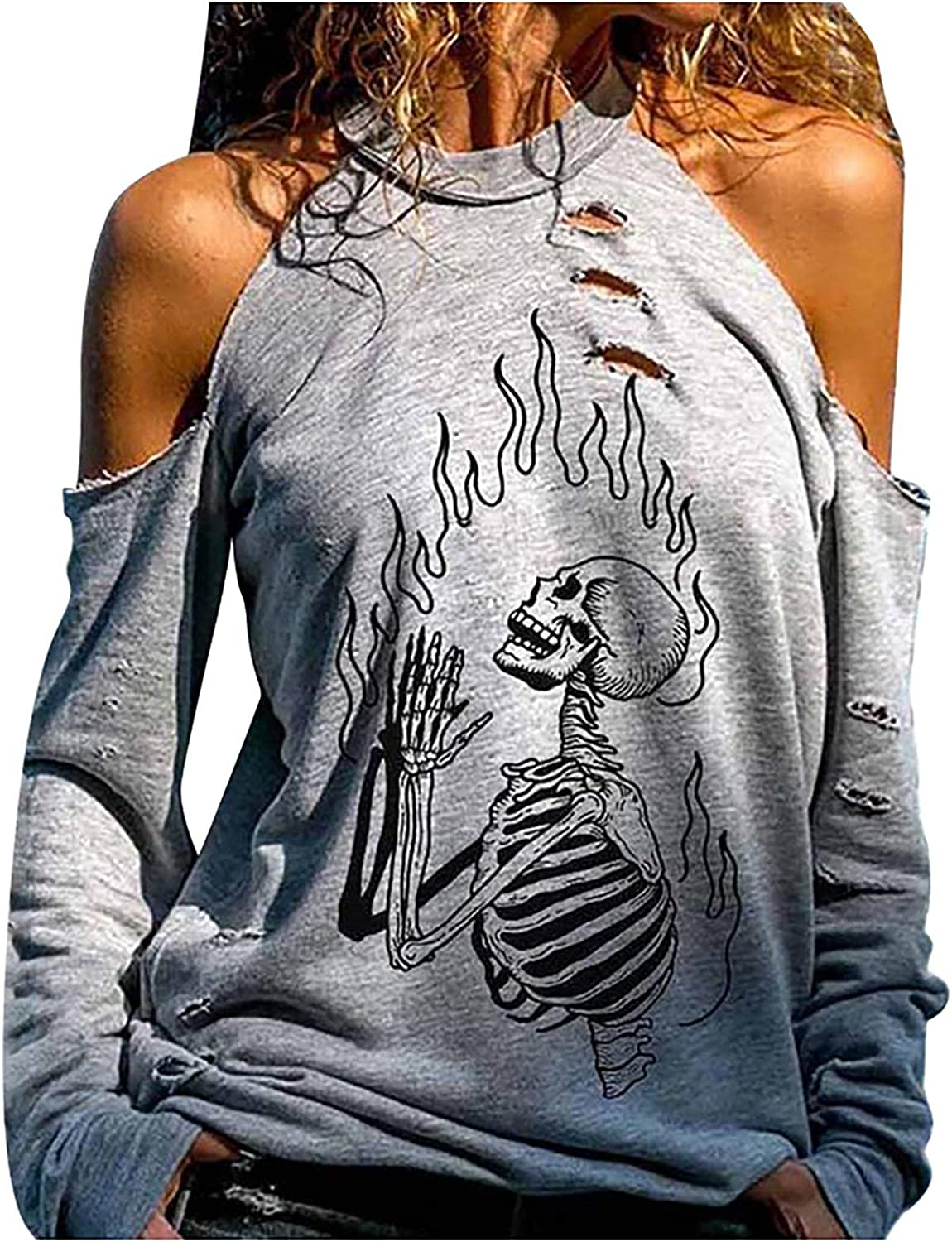 Jaqqra Halloween Shirts for Women Off Shoulder Long Sleeve Sweatshirts Pullover Cut Out Skull Print Casual Tops Blouses