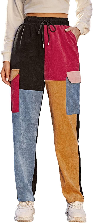 SweatyRocks Women's Casual Color Max 55% OFF Block Surprise price Corduroy Drawstring Waist
