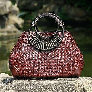 GSERA Damenhandtasche Version Der Strohsack Retro Vase Weinrebe Reise Strandtasche Bambus Holzgriff Handtasche