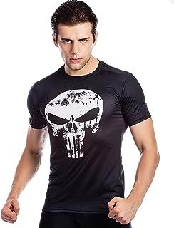 Men's Compression Shirt Sports Skull Logo T-Shirt Short Sleeve