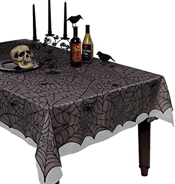 Coxeer Halloween Tablecloth Cobweb Decorative Lace Tablecloth Table Cover