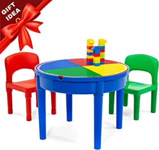 Play Platoon Kids Activity Table Set - 3 in 1 Round Water Table, Craft Table and Building Brick Table with Storage - Includes 2 Chairs and 25 Jumbo Bricks - Primary Colors