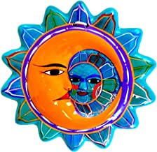 Casa Fiesta Designs Talavera Sun and Moon Face Decor - Ceramic Eclipse Mexican Home Decor - Hand Painted in Mexico - Wall Decoration - Eclipse