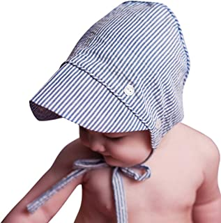 Huggalugs Baby Boys Classic Seersucker Bonnet in 3 Color Choices