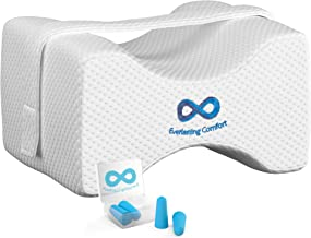 Everlasting Comfort 100% Pure Memory Foam Knee Pillow with Adjustable and Removable Strap - Ear Plugs Included - Leg Pillow for Sleeping