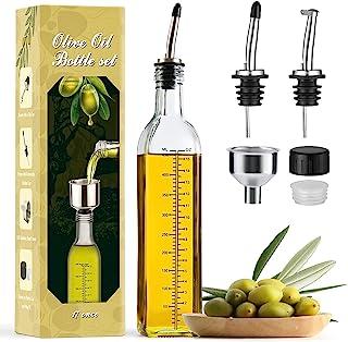 Aozita 17oz Glass Olive Oil Dispenser Bottle - 500ml Clear -Oil & Vinegar Cruet with Pourers and Funnel - Olive Oil Carafe...