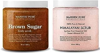 Majestic Pure Himalayan Salt Body Scrub & Brown Sugar Scrub Set – All Natural Scrubs for Skin Care – Exfoliate and Moisturize, Reduce the Look of Spider Veins, Eczema, Stretch Marks, Acne & Cellulite