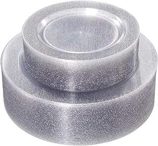 WDF 120PCS Silver Plastic Plates- Disposable Silver Glitter Plates, Premium Heavy Duty 60-10.25