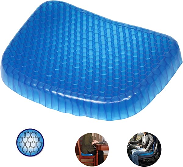 Gel Seat Cushion QZGEGE Thick Big Gel Seat Cushion Newest Modified Double Gel Seat Cushion For Pressure Relief Back Tailbone Pain Home Office Chair Cars Wheelchair With Mesh Seat Cover