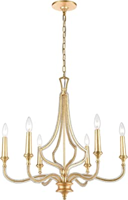 Laluz French Country Chandelier White Distressed Wood Hanging Light Fixtures Living Room 28 Quot H X