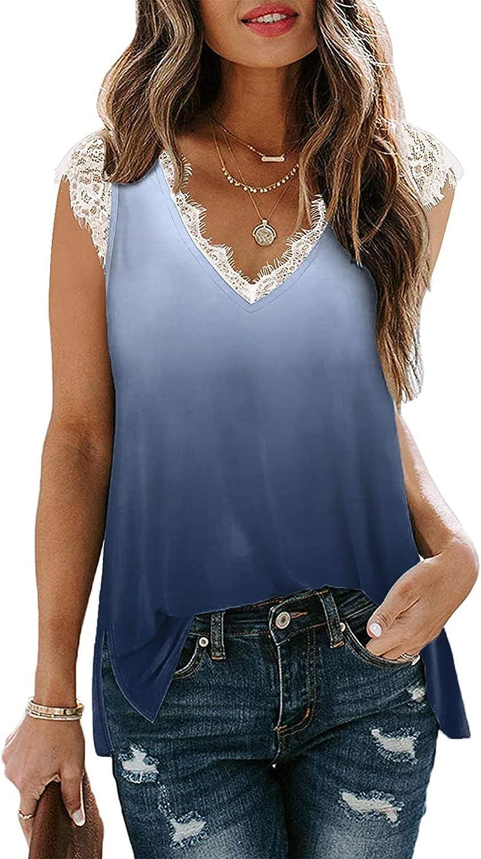 Womens Lace Tie-dye V Neck Tank Tops Summer Casual Loose Side Split Blouse Ladies Swing Flowy Camis Vest