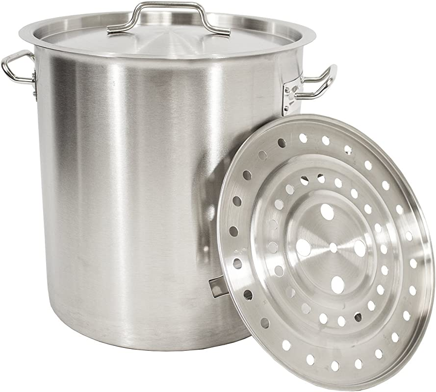 Gas One Stainless Steel Stock Pot With Steamer 8 Gallon With Lid Cover Steamer Rack Tamale Dumpling Crawfish Crab Pot Steamer Thickness 1mm Perfect For Homebrewing Boiling Sap For Maple Syrup