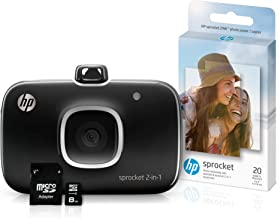 HP 5MS96A Sprocket 2-in-1 Portable Photo Printer & Instant Camera Bundle with 8GB Micro SD Card and Zink Photo Paper, Black (Pack of 3)