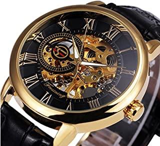 2018 Caluxe Luxury Golden Men Mechanical Watch Royal Man Series Skeleton Roman Number Leather Band