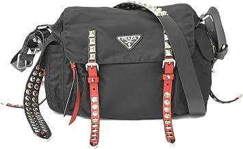 プラダ PRADA テスート スタッズ 斜め掛け ショルダーバッグ ポシェット ナイロン ブラック レッド 黒 赤 シルバー金具 1BD118 中古