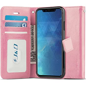 J&D Compatible para iPhone X/iPhone XS Funda, [Bloqueo de RFID] [Soporte Plegable] Funda Pesada Resistentes Billetera para iPhone X, iPhone XS Funda Cuero - [No para iPhone XR/iPhone XS MAX]