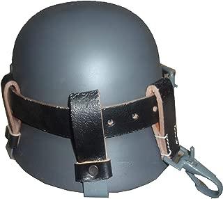 Alemán WW2 Casco de Cuero Negro Carry Strap con Clips de Metal (Portador del Casco Solamente)
